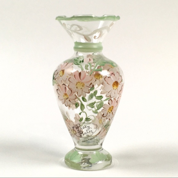 Vintage Tracy Porter Bud Vase Hand Painted Ceramic Bird Bud Vase Pink and Green Ceramic